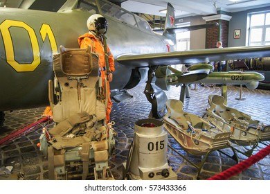 Equipment military pilot. Moscow, Russia - 3 September, 2016. Museum of military equipment and retro cars.
