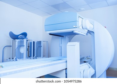 Equipment in oncology department. Nuclear Radiation in medicine.