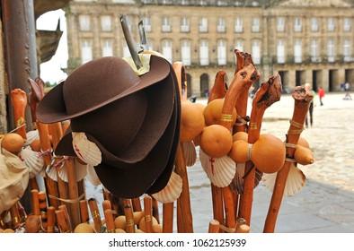 The equipment of the pilgrims, Way of St. James, camino de Santiago. Santiago de Compostela, World Heritage, Spain
