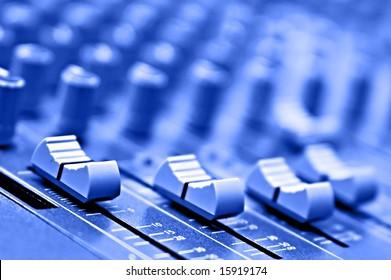 equipment recording studio in blue colour