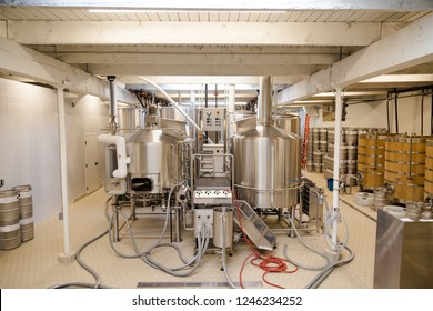Equipment room in a microbrewery used in beer production.