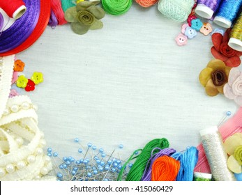 equipment for sewing accessories for handmade sewing kit border background with copy space
