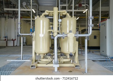 Equipment tanks and piping air compressor pump system in the factory