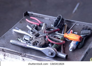Equipment tools, material for fixed or repair car engine on the box.