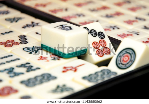 Equipments Mahjong Board Game Concept Asian Stock Photo