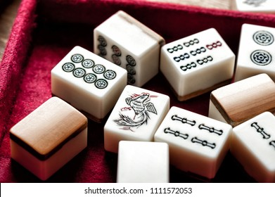 Equipments for Mahjong game. Mahjong is the ancient asian board game.