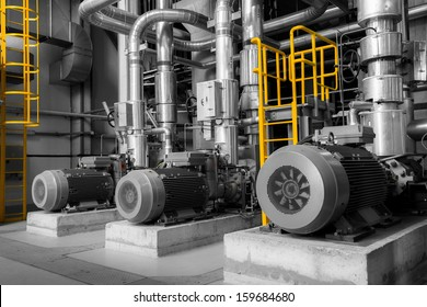 equipments, pipes in a modern thermal power plant
