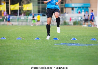 Equipments for skill practice soccer on grass field soccer with moving of soccer player