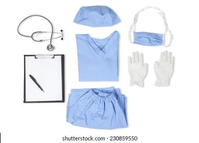 Equipments of surgeon with uniform, stethoscope, clipboard, gloves, mask, and hat