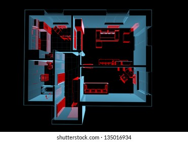 Equipped house (3D xray red and blue transparent isolated on black background)