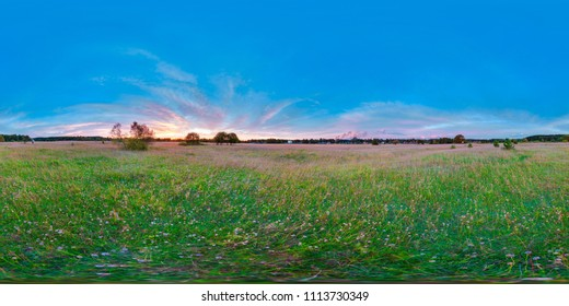 equirectangular  360 degree spherical panorama for virtual reality background beautiful sunrise at the field landscape blue sky