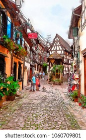 Equisheim village, France, watercolor style