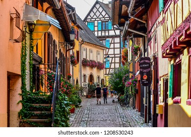 EQUISHEIM,FRANCE-AUGUST 27,2018: charming village of Eguisheim,France.