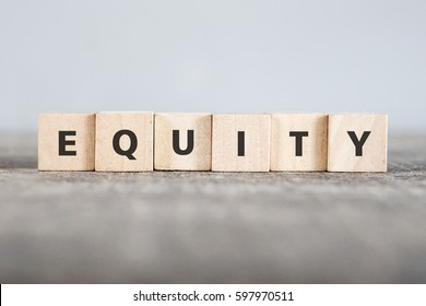 EQUITY word made with building blocks