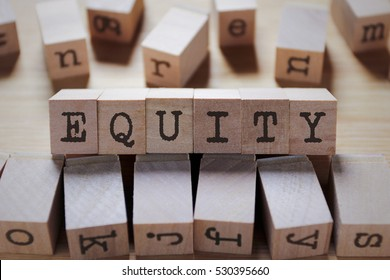 Equity Word In Wooden Cube