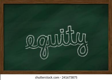 equity word written on chalkboard