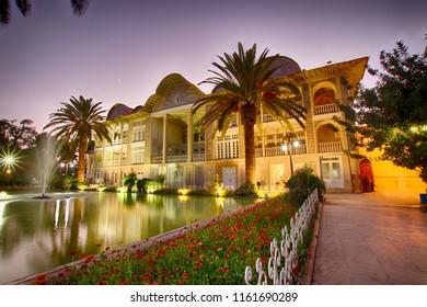 Eram Historical Garden in Shiraz at sunset