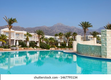 erapetra,Creete,Greece-October18,2018: Ostria Beach Resort & Spa is luxury  all Inclusive beachfront hotel on the southern coast of Crete near the town of Ierapetra.
