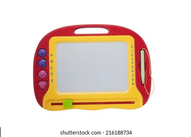 An Erasable childrens drawing board isolated on a white background with clipping path