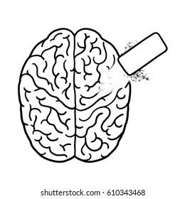 Erase brain outline illustration; Erase memory
