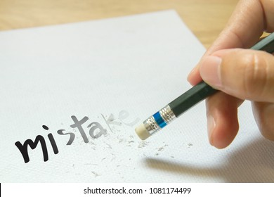 Erase the mistake on paper concept
