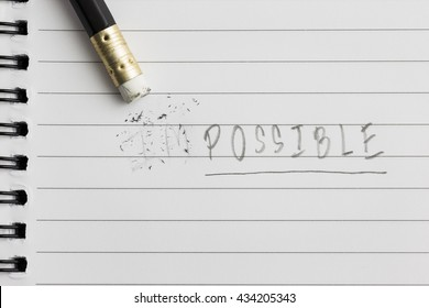 Erase word from impossible to possible, concept and idea