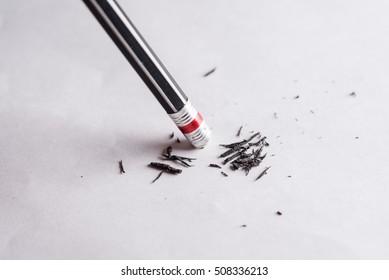 Eraser, Change concept, Black pencil with black eraser on white background, Mistake erase concept, Eraser pencil with white paper