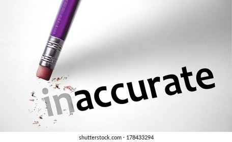Eraser changing the word Inaccurate for Accurate