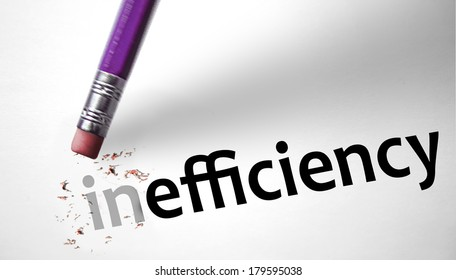 Eraser changing the word Inefficiency for Efficiency