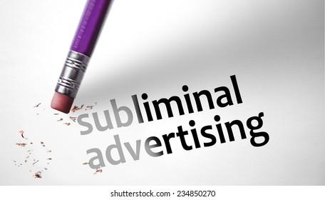 Eraser deleting the concept Subliminal Advertising