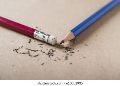 Eraser and error with sharpened pencil concept, Mistake erase concept
