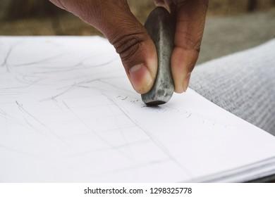 Eraser on paper.