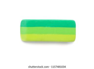Eraser on white background. Stationery for school