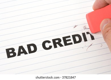 eraser and word bad credit, concept of making change