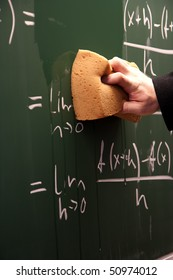 Erasing a blackboard written all over by math problem