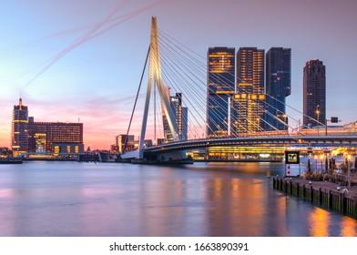 Erasmus bridge over the river Meuse in Rotterdam