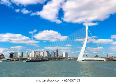 Erasmus bridge in Rotterdam in a beautiful summer day, The Netherlands