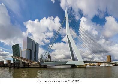 Erasmus bridge and Rotterdam cityscape - Netherlands - architecture background