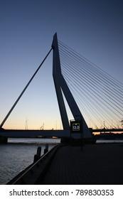 Erasmusbrug in Rotterdam in sunset