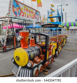 ERATH, L.A. / USA - JULY 4, 2019: The Old Western Train station, a street fair ride, located at a carnival for Fourth of July, Independence day festival in Erath, Louisiana.