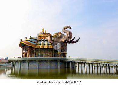 The Erawan elephant at Temple of gods spiritual powers,Wat banrai Thailand.