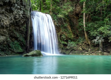 Erawan water fall (Third floor), tropical rainforest at Srinakarin Dam, Kanchanaburi, Thailand.Erawan water fall is  beautiful waterfall in Thailand. Unseen Thailand