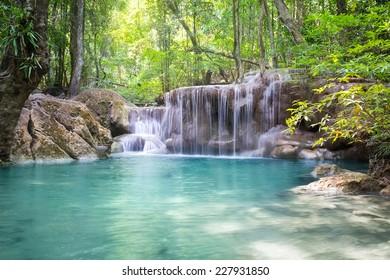 Erawan waterfall 5th level famous attraction of Kanjanaburi province in Thailand.