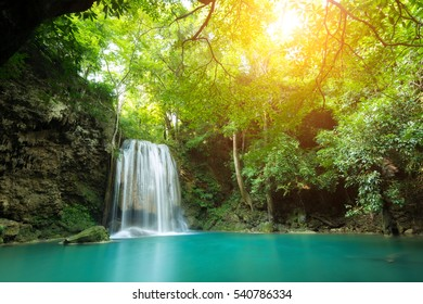 Erawan Waterfall is a beautiful waterfall in spring forest in Kanchanaburi province, Thailand