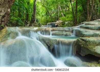 Erawan Waterfall in the deep forest Kanchanaburi, Thailand