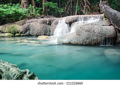 Erawan waterfall in deep forest, Thailand