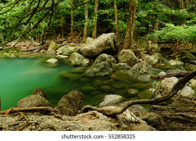 Erawan Waterfall in Kanchanaburi Province, Thailand Deep forest Waterfall