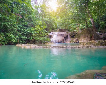 Erawan Waterfall, Kanchanaburi, Thailand. Abundant nature Full of trees And the water is very clear blue water.