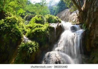 Erawan Waterfall, Kanchanaburi, Thailand, forest landscape, river with waterfall, jungle, mountain stream