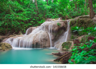 Erawan waterfall is most travels from traveler of Thailand